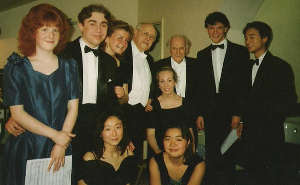 With Rostropovich and Menuhin after a school concert, many many years ago...