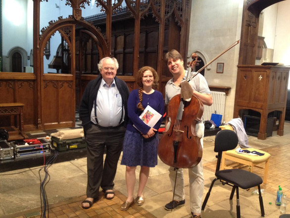 After the recording of 'Excelsus' with producer Ates Orga and cellist Thomas Carroll, St. John the Evangelist, Oxford, July 2017