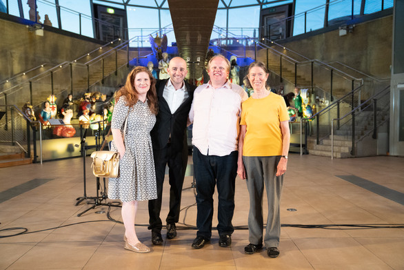 At a London Oriana five15 concert with Dominic Ellis-Peckham, a choir member and composer Jennifer Fowler (photo © Kathleen Holman)