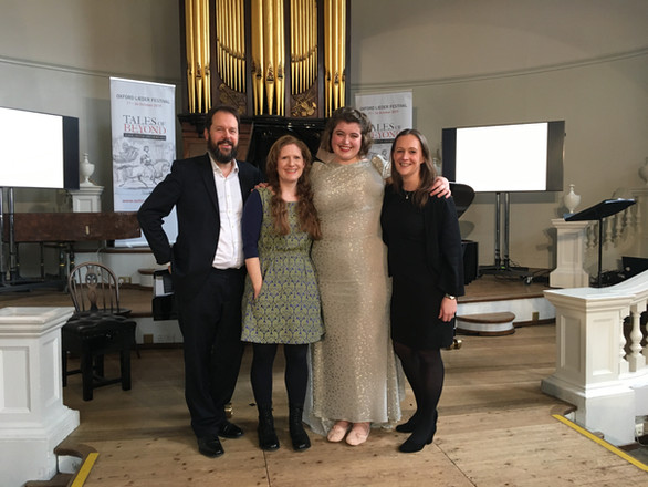"With Sholto Kynoch, Jess Dandy and Helen Abbott after the premiere of ""Une Charogne"" at the Oxford Lieder Festival, 2019"