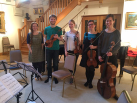 """With the Gildas Quartet at Champs Hill after recording """"My Day in Hell"""""""