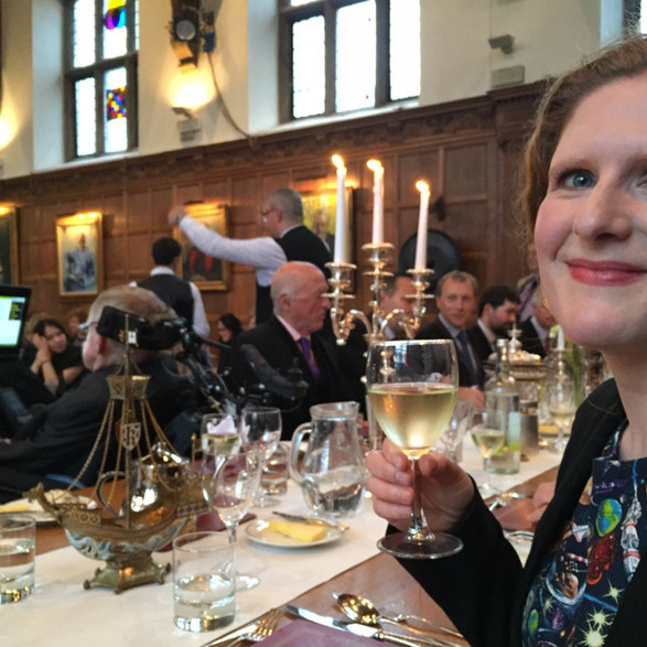 At Gonville and Caius College after the World Premiere of 'Beyond the Night Sky' at a dinner to celebrate Professor Stephen Hawking's 75th Birthday
