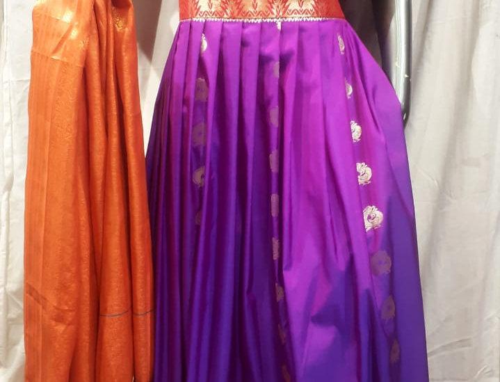 SWPG002 Designer Paithani Gown-Lavender