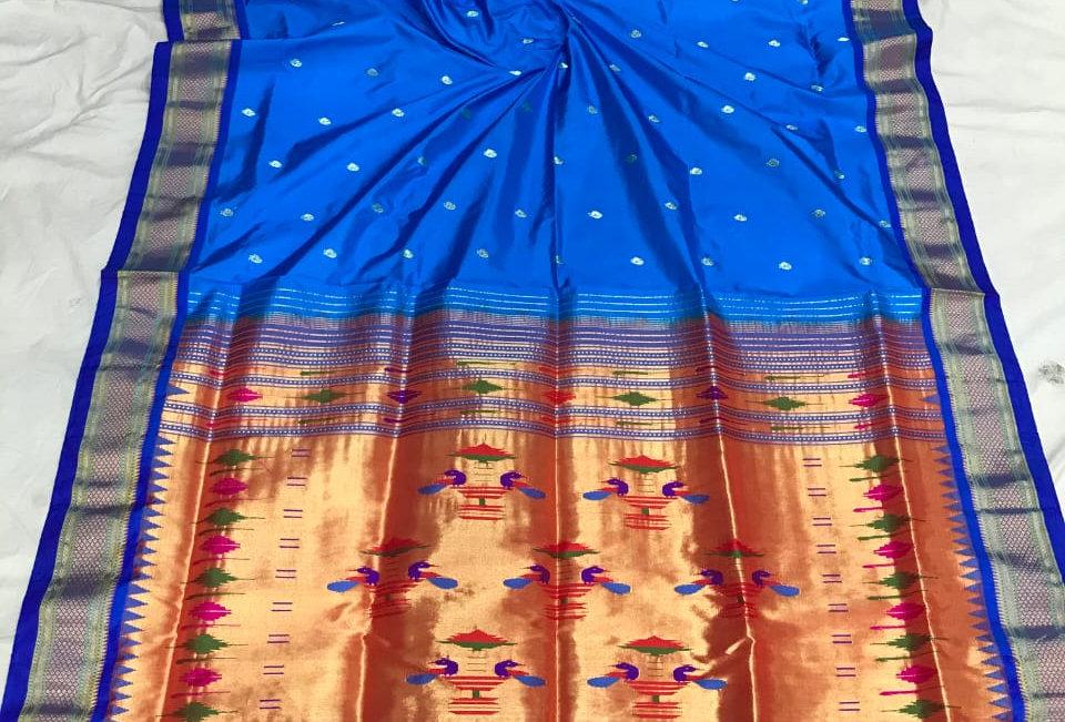 Swara-Paithani Double padar with blouse piece