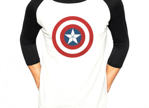 T-shirt Captain America manches 3/4.