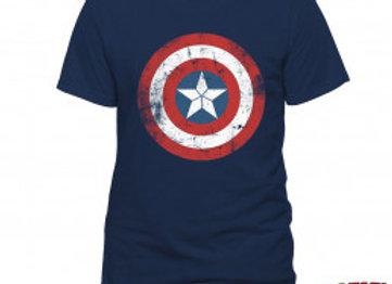T-shirt classique bleu marine CAPTAIN AMERICA VINTAGE