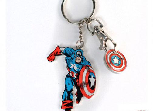 Porte-clés Captain America avec jeton cadille