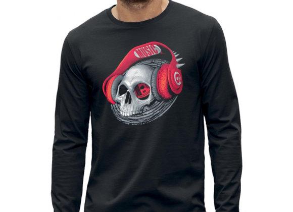 T-shirt manches longues 3D animé TETE DE MORT CASQUE DJ BEATS