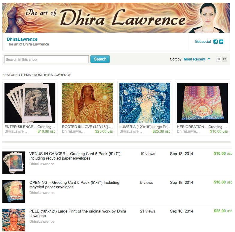 Etsy Store Front for Dhira Lawrence Art -- Prints and Cards.