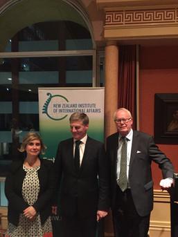 Maty Nikkhou-O'Brien and Sir Doug Kidd hosting NZ Prime Minister Bill English