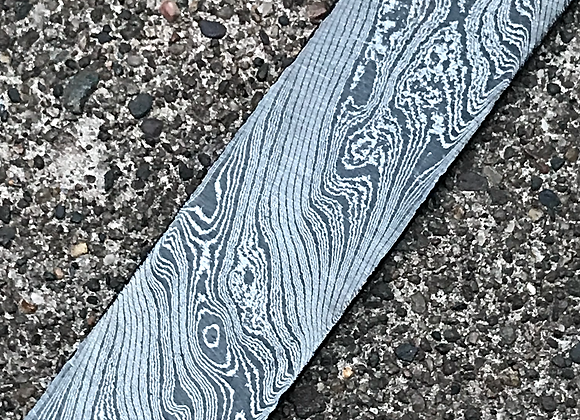 "Tiger Twist High Contrast Carbon Damascus .155"" x 1.5"" x 11.4"""