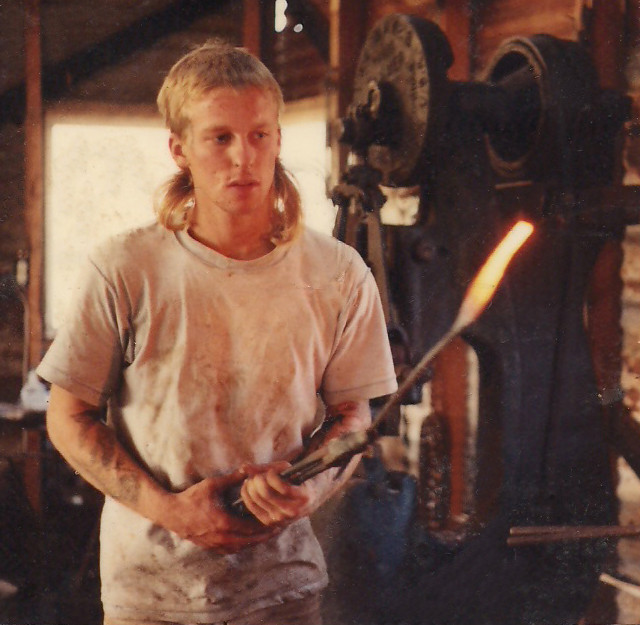 Early Damascus Forging in Bastrop, TX 1990