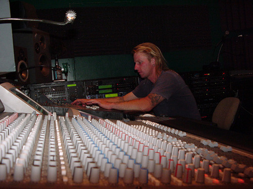 Mixing Music in his studio in Mill Spring, NC 2000