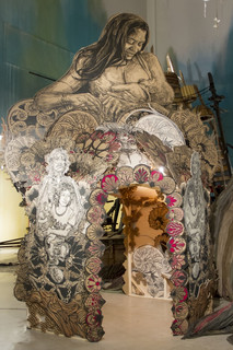 installation view of Submerged Motherlands by Swoon, 2014