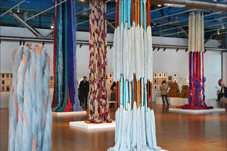 """View of """"Lifelines"""" exhibition by Sheila Hicks, 2018"""