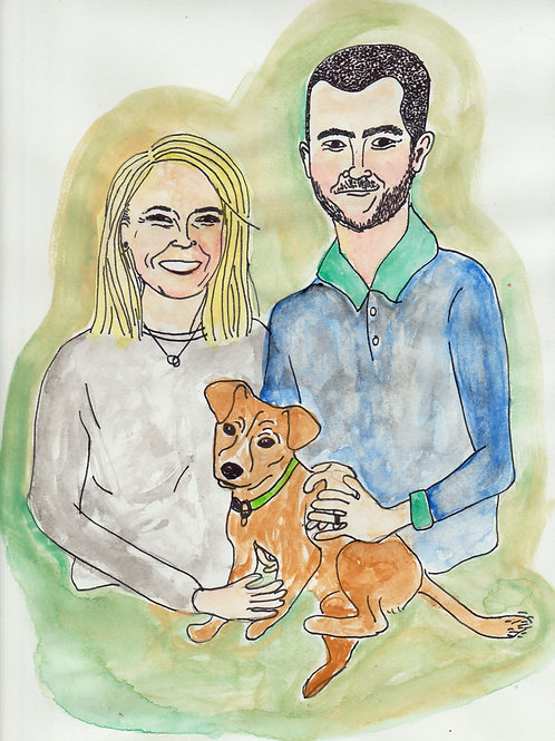 custom watercolor portrait (family)