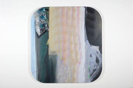 Never a straight line serpentine,152,5 x 142,5 cm, acrylique sur canevas, 2014