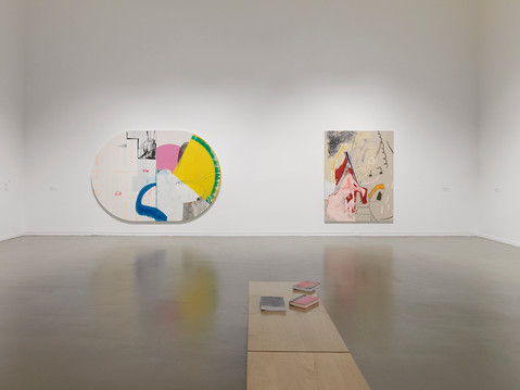 Installation view of Entangled: Two Views on Contemporary Canadian Painting, exhibition at the Vancouver Art Gallery, September 30, 2017 to January 1, 2018  Photo: Maegan Hill-Carroll, Vancouver Art Gallery, left: Nathalie Thibault, Right: Marvin Luvualu Antonio