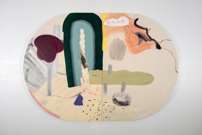 Assemblage 8, 214 x 305 cm, diptyque, acrylique sur canevas 2018
