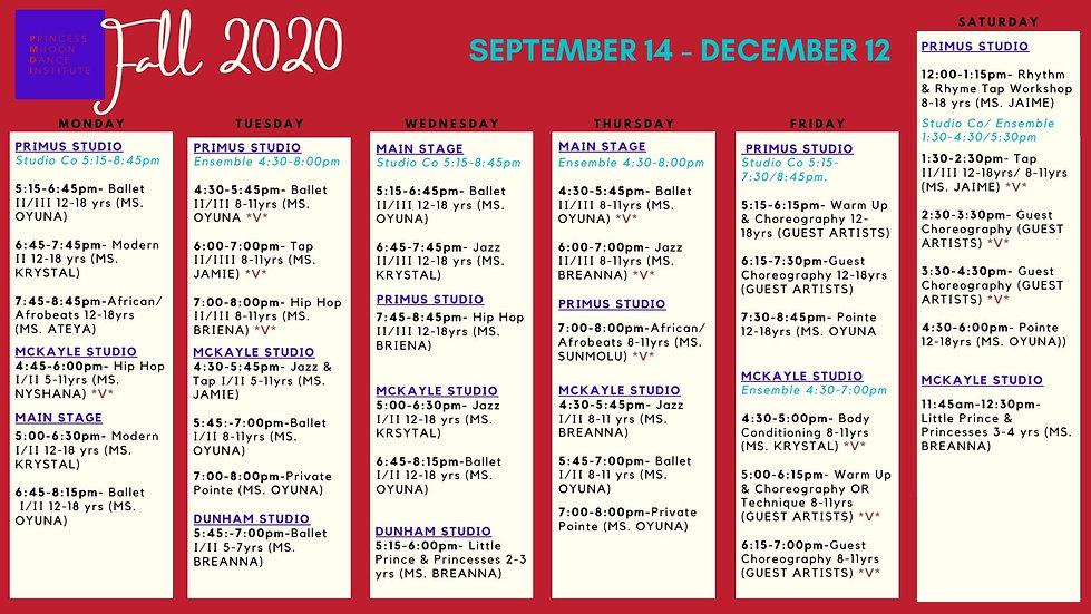 UPDATED 10_27 Fall 2020 Schedule w_ S_E.