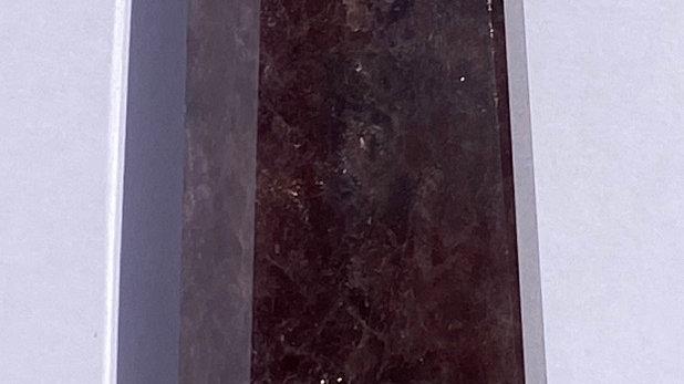 406G A++Natural Strawberry Crystal Quartz Obelisk Crystal Wand Point Healing