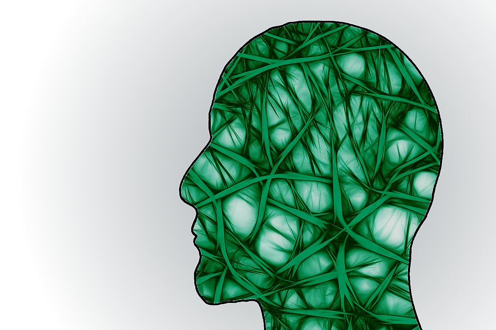 Green silhouette of a human head