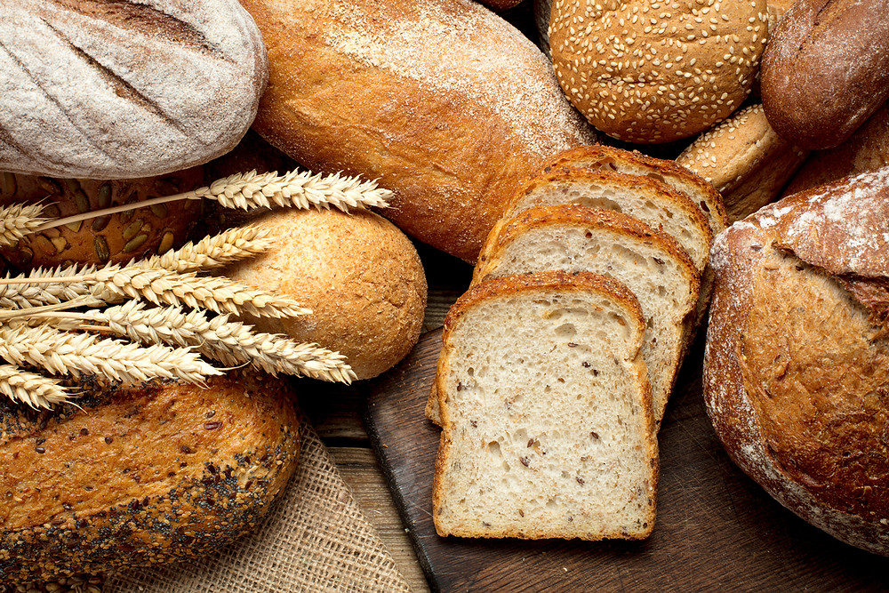table of different types of whole grain bread; whole grains, whole grain bread,