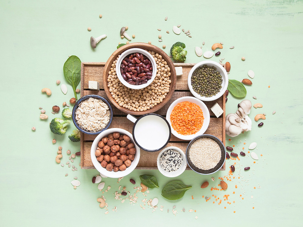 Wooden tray of small bowls filled with plant-based proteins; lentils, nuts, beans, soy nuts, quinoa, oats