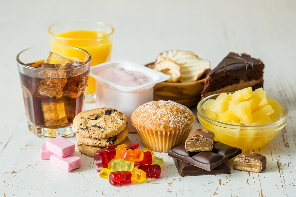 reduced added sugar, hidden added sugars in foods, eat less junk food, satisfy sugar cravings with healthy alternatives, health benefits of reduced added sugars in the diet, dangers of eating added sugars, tips to reduce added sugar intake, improve nutrition by cutting added sugars