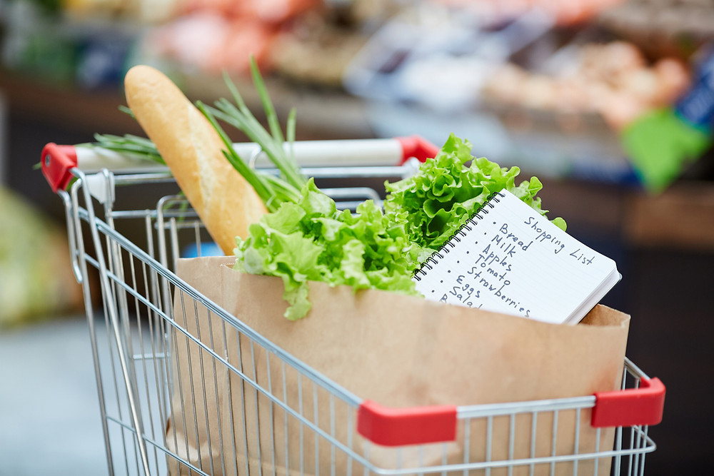 Grocery cart with shopping list, bread and lettuce