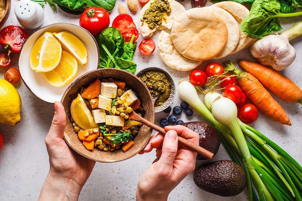 Countertop of vegan food items to make vegan meal; Plant-based diet, plant proteins