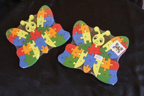 Puzzle di legno farfalla lettere + numeri