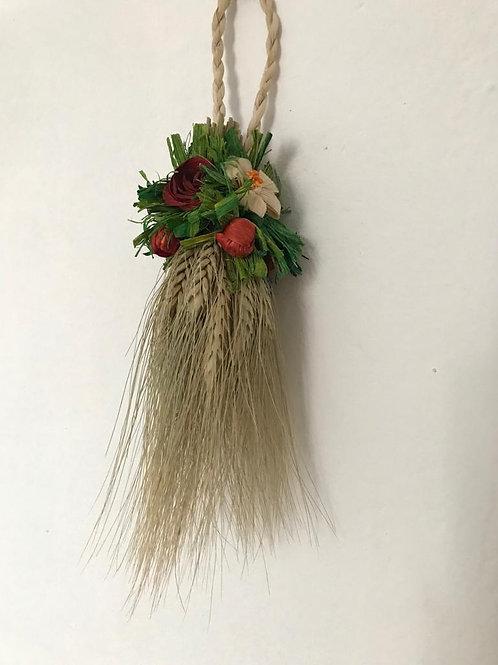 Decorazione spighe di grano con fiori lavorata a mano