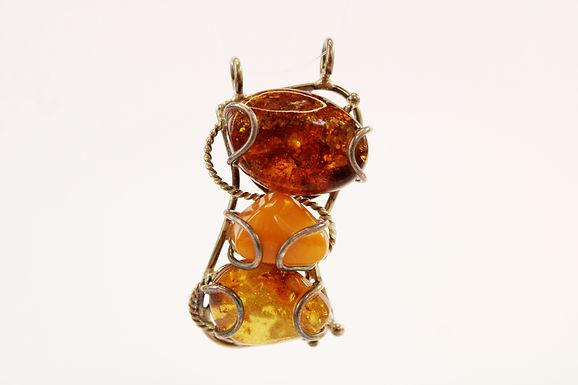 Ciondolo unico con Tris di pietre in Ambra naturale e Argento 925
