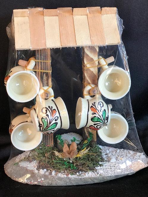 Set di 6 tazze in ceramica con supporto in legno decorato