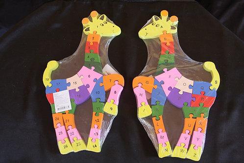 Puzzle di legno Giraffa lettere + numeri