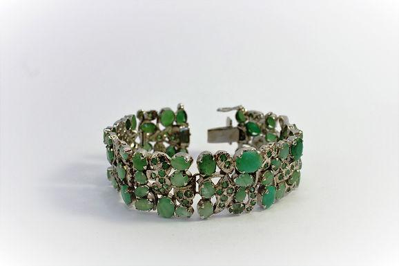 Braccialetto stile indiano in radice di smeraldo e argento925