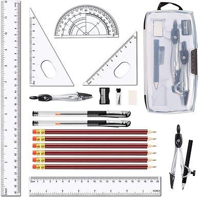 LATERN 20 Pezzi Bussola Geometrica Set, Kit Per Studenti Compasso E Goniometro