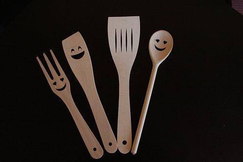 Set posate Smile di legno di faggio europeo