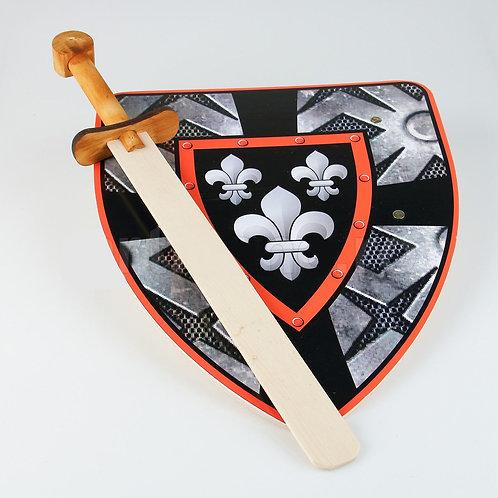 Scudo e spada in legno per bambini