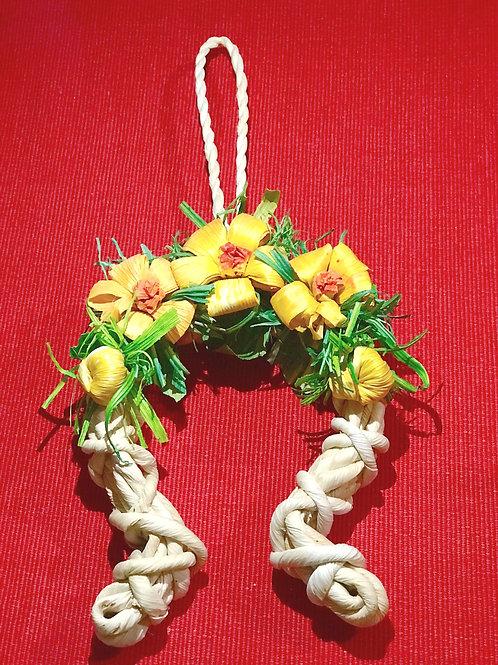 Decorazione Ferro di cavallo e fiori giallo lavorata a mano