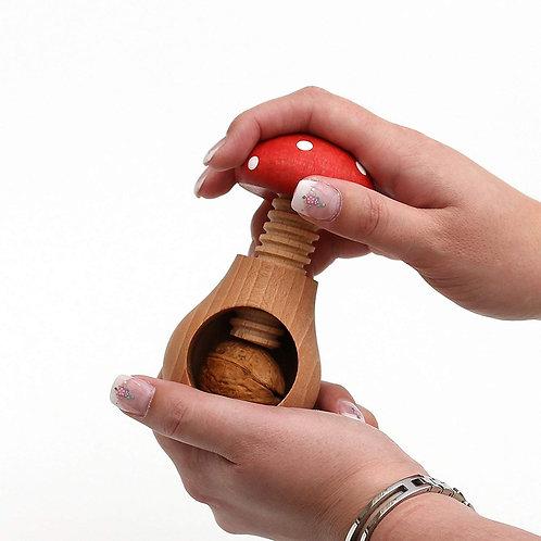 Schiaccianoci / mandorle / nocciole a forma di fungo rosso, in legno di faggio