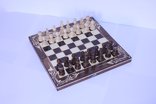 Set di scacchi e backgammon in legno di faggio 26x26 cm