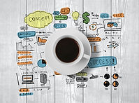 coffee cup and colorized business strate