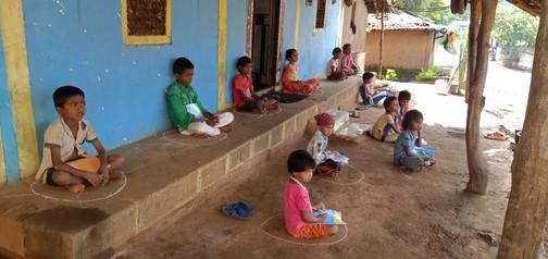 Children studying in Bolki Shala