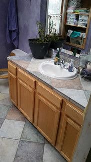 A one of a kind master bath vanity and floor