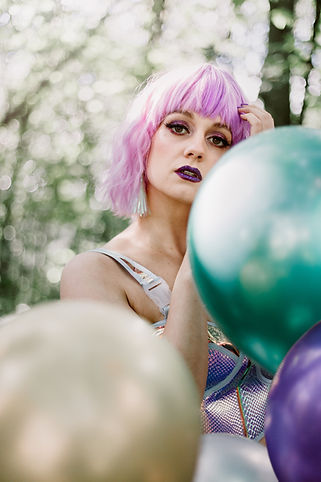 Manchester Fashion Photographer | Balloons in forest Photography | Fashion Photography