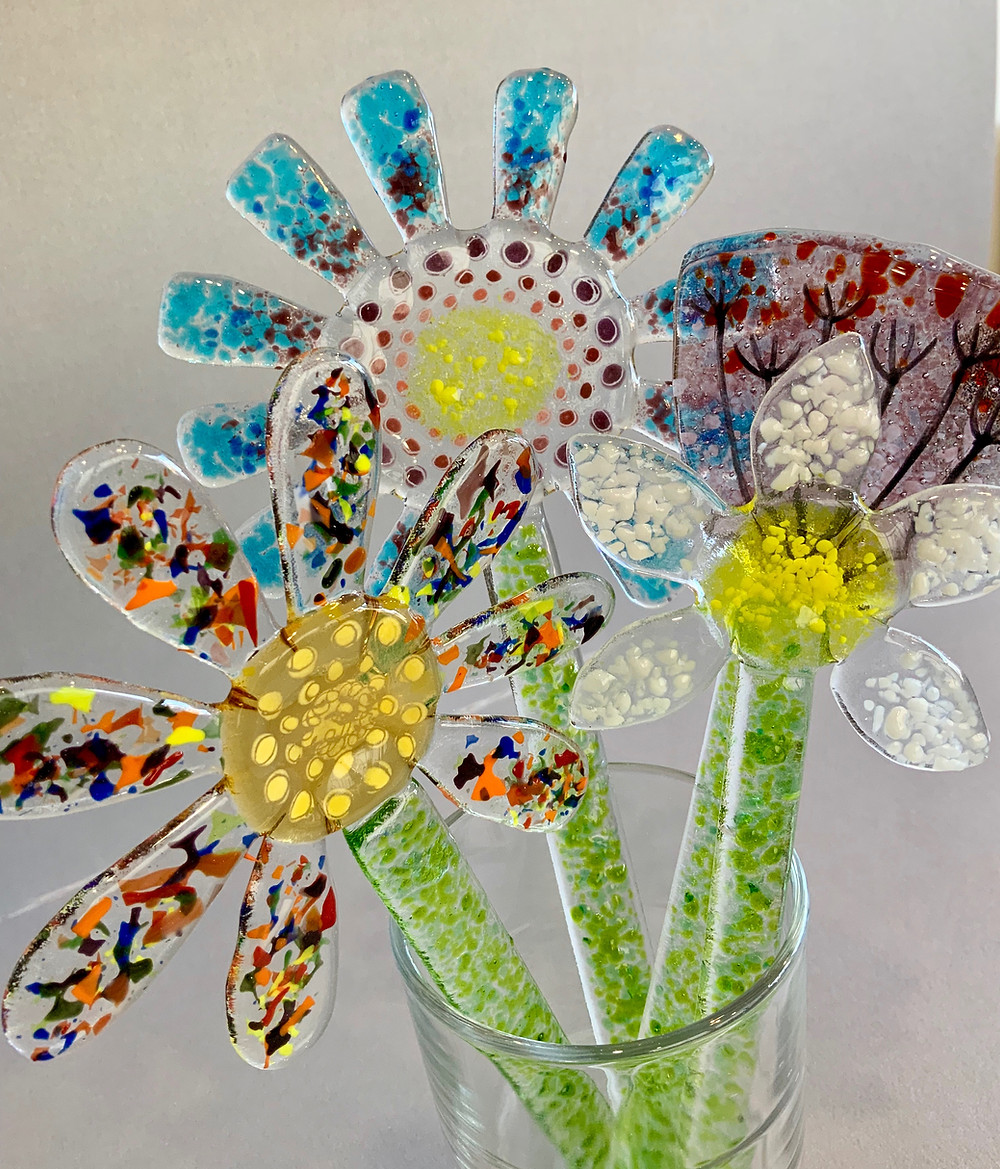 glass flowers, fused glass