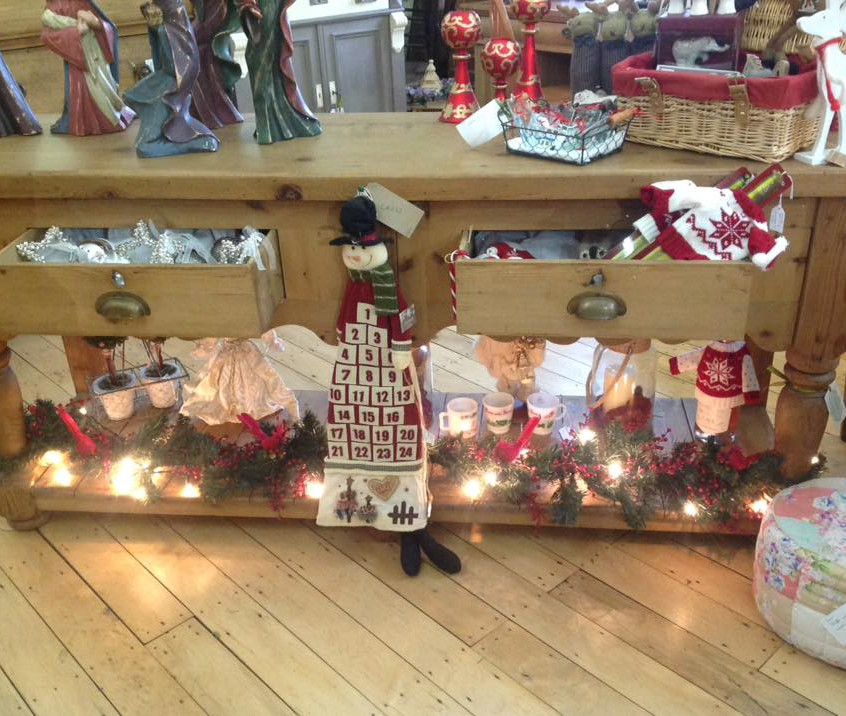 A shelf of Christmas