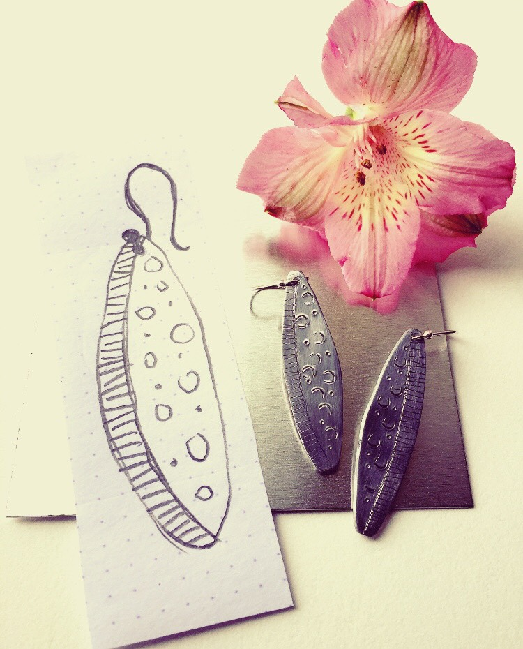 aluminium and silver earrings
